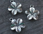 12 Silver Plumeria Flower Charms 23mm Antiqued Silver