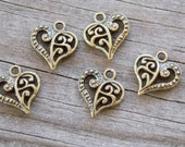 Bronze Heart Charms, Filigree, Antiqued Bronze  14mm, 20 pcs