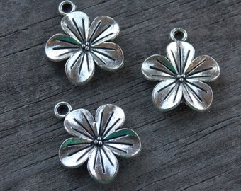 24 Silver Plumeria Flower Charms 23mm Antiqued Silver