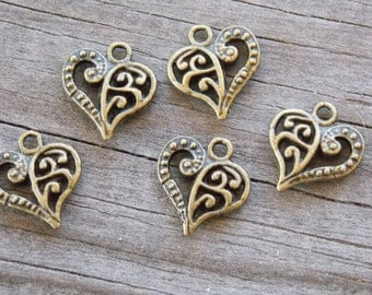 10 Bronze Heart Charms Filigree  14mm Antiqued Bronze