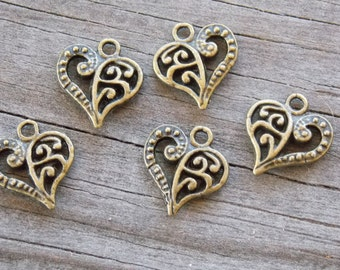 50 Bronze Filigree Heart Charms 14mm