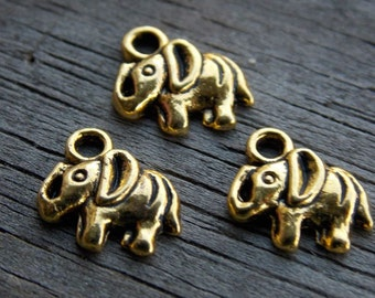 10 Gold Elephant Charms 11mm Tiny Elephants Antiqued Gold