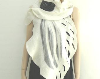 Nuno Felted Scarf merino wool silk Handmade Nuno felting shawl  White -  Gift brooch