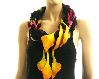 Nuno felted scarf silk and wool -  black, yellow, pink shawl