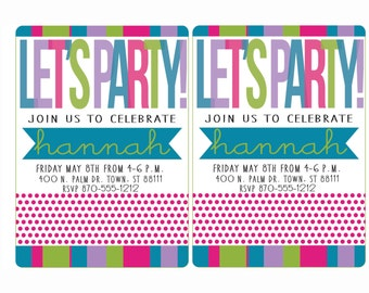 Custom birthday invitation; custom party invitation; hot pink, lime green, turquoise, pale purple; You add in text & info; instantly print