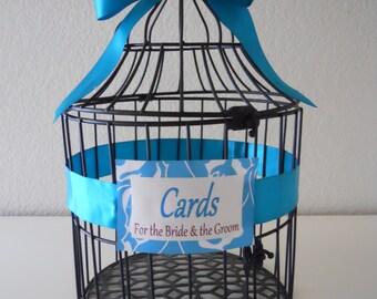 Black Modern Wedding Birdcage, Wedding Card Holder, Tiffany Blue Large. ON SALE