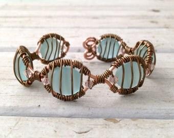 Aqua Beach Glass and Swarovski Crystal Wire Wrapped Adjustable Bracelet