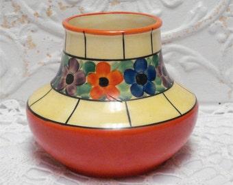 Czech Lusterware Vase Hand Painted 10215 6 Inch