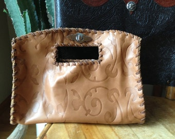 Cowhide leather Purse with Silver Clasp Clutch Style