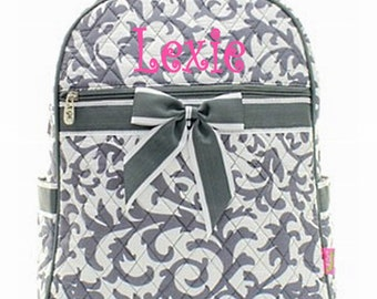 Personalized Girls Damask  Quilted Backpack - Gray & White Print Booksack Monogrammed FREE