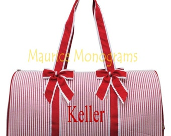 SALE  Personalized Large Seersucker Duffel Bag Gym Dance or Overnight Red and White great for Boys or Girls - Monogram FREE