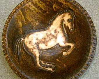 Bowl, carved, horse bowl, glazed, high fired