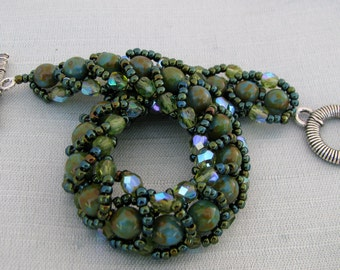 Dark Green Beadwoven Bracelet,