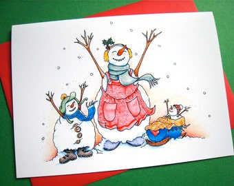 Christmas Card - Snow Card - Snow Mama Family - Single Mom Christmas - Winter Holiday Card