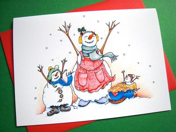 Snow Christmas Card - Merry Christmas Snowman Card - Snow Family