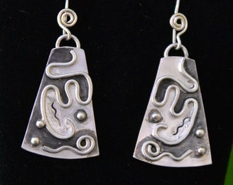 "Sterling silver tribal earrings.  hand crafted and forged.  Tribal 2 - ""Aruma"""