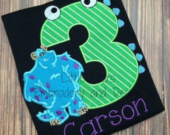 Birthday Monster Number with Monster - Appliqued and Personalized