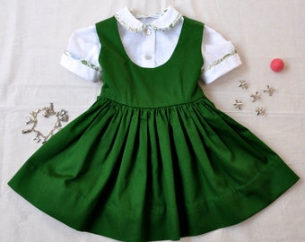 Vintage inspired  Emerald Green Jumper and Dotted Swiss Blouse size 1yr.