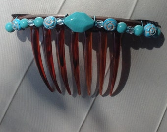 EL CARIBE - French-Twist Hair Comb w/ Turquoise Glass Beads