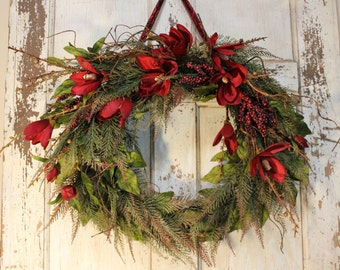 After Christmas Sale - Christmas Wreath, Grapevine Wreath, Door Wreath, Autumn Wreath, Holiday Color, Red, Green, Magonlia Wreath
