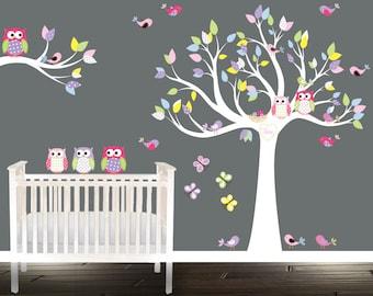 Tree Owl Wall stickers, wall tree decal, nursery Tree Birds Owls, branch butterflies