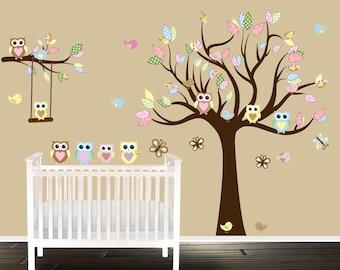 Nursery Tree Owl Tree Decals Playroom Stickers Owl Tree - Nursery wall decals gender neutral