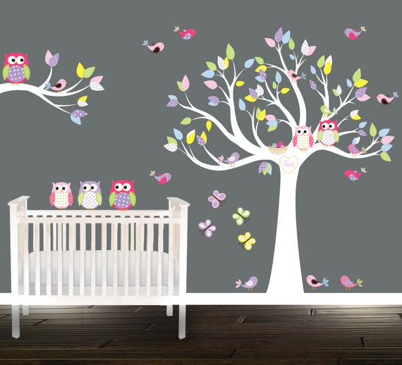 Sticker arbre hibou mur arbre sticker p pini re arbre - Stickers papillon chambre bebe ...