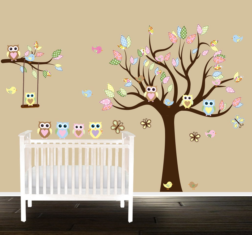 Owl Nursery Tree Wall Decal Gender Neutral Wall Decals Wall Art