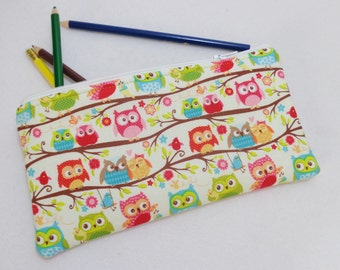 Happy Flappers Owls print Pencil Case/ Crayon Case/Makeup Bag/ Cosmetic Case/ Ready to Ship