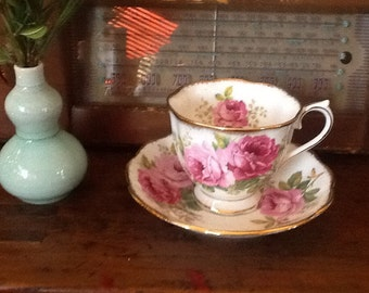 Vintage Royal Albert Teacup and Saucer in American Beauty Pattern pink roses