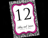 Damask Wedding Table Numbers - Black - Pink - Glitter - Damask