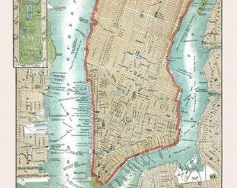 Lower Manhattan Map Vintage 1800s Art Illustration New York City NYC - Digital Image