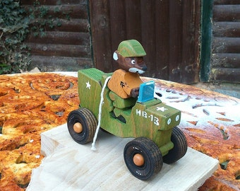 Corporal Jimmy Jeep / push toy /  ww2 jeep /  Wooden vehicle and driver