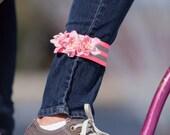 Petal Brite reflective pink roses ankle strap