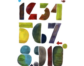Decimal System Numbers - File for PRINT, from letterpress typography Art Print - downloadable file