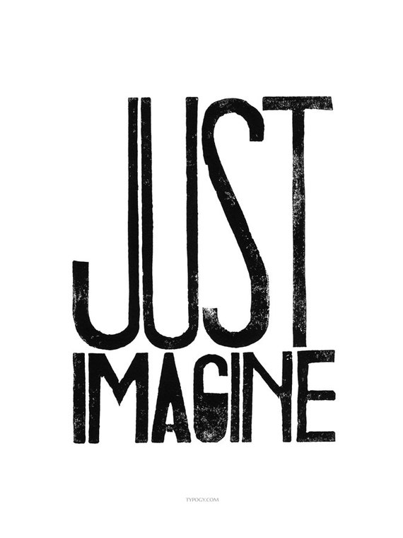 Artwork design digital file from LINOCUT PRINT - Just Imagine - letterpress typography Art  for office wall or your creative space - digital