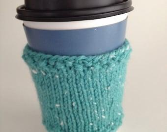 Aqua Green Cup Cozy Hand Knit Coffee Tea Sleeve Hot Beverage Mint Tweed