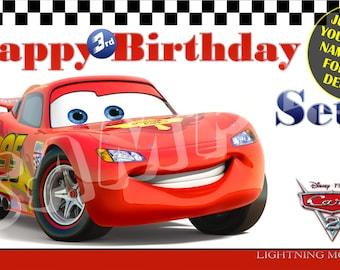 Disney Pixar's Cars 2 Personalized Custom Vibrant Artist Vinyl Birthday Banner Party Decoration