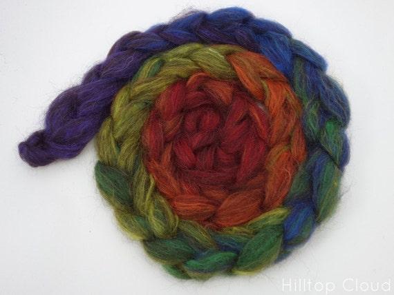 Rainbow Roving - Gradient Spinning Fiber, 100g Black Welsh Mountain,Silk