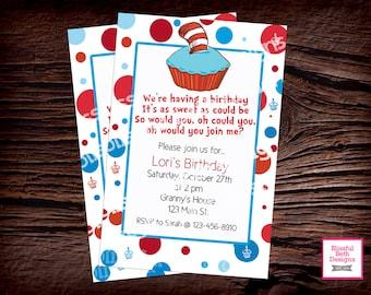SEUSS BIRTHDAY INVITATION Dr. Seuss Birthday Invitation, Personalized Seuss Invite, Printable Seuss Birthday Invitation, Seuss Birthday