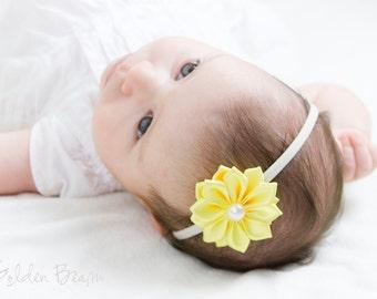 Yellow and Ivory Baby Headband - Flower Girl Headband - 16 Petals Yellow Satin Flower Handmade Headband - Infant to Adult Headband