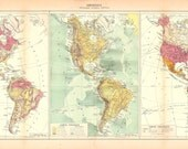Large Vintage Map of the Americas, Political, Physical and Geological Map