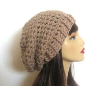 Taupe Slouch Beanie Tan Crochet Cap Beige Slouch Beret Tan Slouchy Hat Taupe Knit Beanie Tam Crochet Taupe Hat Slouchy Beanie Taupe Hat