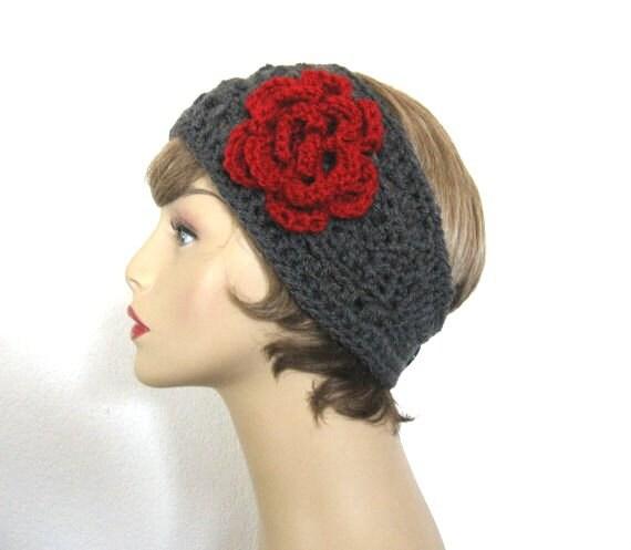 Gray Crochet Headband with Flower Charcoal Headband Crochet Earwarmer Knit Head Band Charcoal Gray Earwarmer Gray Ear warmer Gray Headwrap