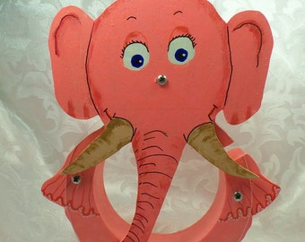 Moving Sale - Pink Elephant Wooden Coin Bank