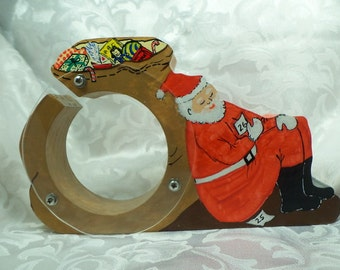 Santa Tired out after a long holiday Wooden Bank - Personalized Free