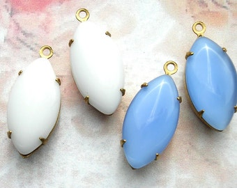Four Piece Set of Blue and White 18x9mm Navette Glass Jewel Charms