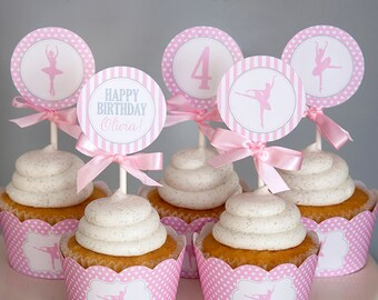 Ballerina Birthday Cupcake Toppers - Ballerina Printable Decorations - Ballet Birthday - Dance Party - PERSONALIZED