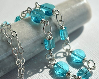 Aqua Crystal Necklace, Turquoise Crystal Necklace, Wire Wrapped,Swarovski Necklace, Sterling Necklace, Bead Chain Necklace, Blue Necklace