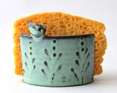 Sponge Holder with Bird - Aqua Turquoise Mist - French Country Home Decor - READY TO SHIP
